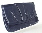Vintage 1980's Blue Gathered Flap Clutch Purse Shoulder Bag