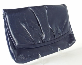 Vintage 1980's Blue Gathered Flap Clutch Purse Shoulder Bag