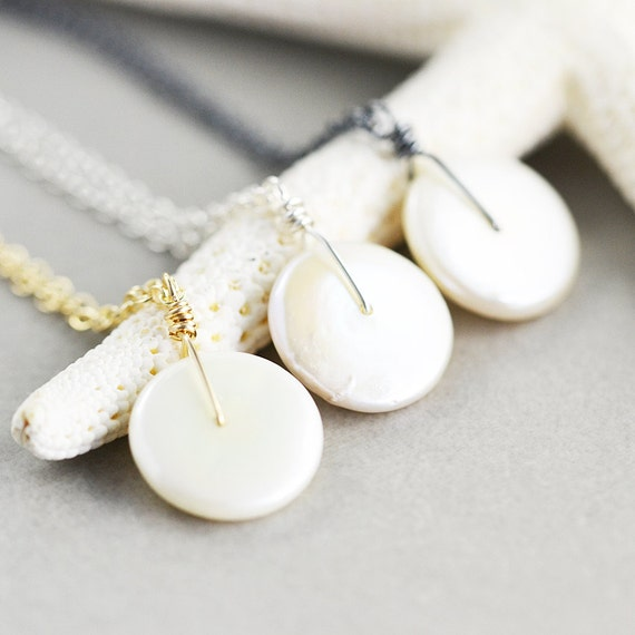 White Coin Pearl Necklace, June Birthstone Jewelry, Bridesmaid Gift