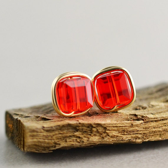 Red Studs, Square Posts, Red Cube Earrings, Swarovski Earrings, Post Earrings
