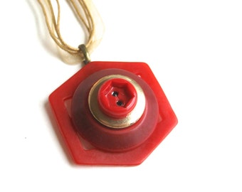 Vintage Button Necklace Red Hexagon Geometric