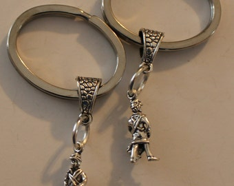 Sterling 3D CONFEDERATE SOLDIER Key Ring, Key Chain - Civil War, Re-enactments, Southerners