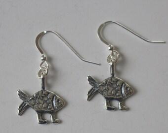 Sterling Silver DARWIN'S FISH Earrings  - French Earwires -  Walkng Fish