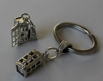 Sterling TELEPHONE BOOTH Key Ring, Key Chain - 3D & Moveable - Doctor