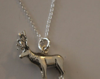 Sterling Silver 3d ELK Pendant AND 20 Inch Chain - Wildlife, Totem