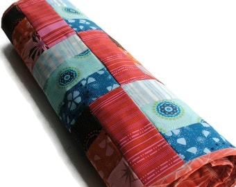 Handmade Quilted Table Runner Orange Pink Blue Turquoise