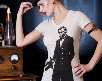 Women's Abe Lincoln Two-Sided Tee in Oatmeal