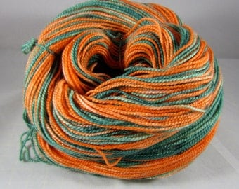 Pumpkin Handpainted Sparkle sock yarn 438 yards