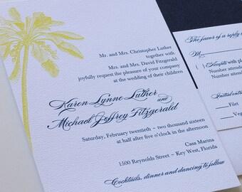 Palm Tree Wedding Invitation, Beach Wedding Invitation with Belly Band - Sample  (Free Shipping)