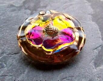 Vintage Button-Flower Button-Czech Glass Button-Vintage Stunning Rare Czech Handmade Bohemian Vitrail 3D Pansy Flower Glass Button-1