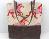 Urban Tote in Pink Horses and leather