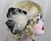 Bridal Head Piece, 1920's Flapper, Great Gatsby, Ivory White Peacock Feather Headband, Crystal Head Dress,