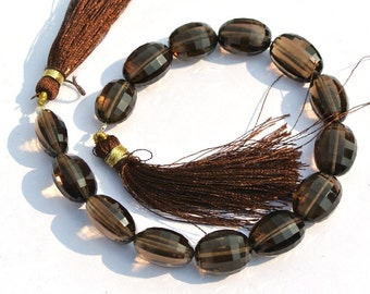 8 Inches AAA Genuine Smoky Quartz Checker Cut Puffy Oval Beads, Barrel Beads, Gemstone Beads Finest Quality Wholesale Price