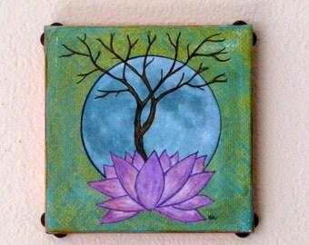Base of Change 39 original mixed media tree lotus art by tremundo