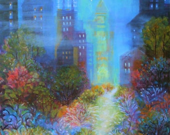 Abstract Cityscape Misty Evening