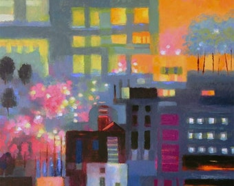 Abstract Cityscape with Cherry Trees 24 x 30""