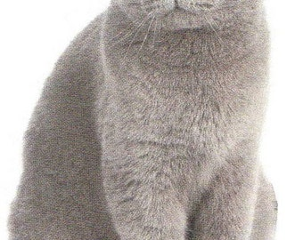 """CAT, GRAY Sitting on One 16 inch Fabric Panel to Quilt or Sew. Actual Picture is approx. 8"""" x 11"""" on white background."""