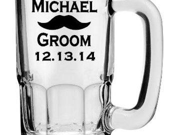 SINGLE DIY Personalized Mustache Beer Stein or Pilsner Glass Decals, Custom Bridal Party Decals, Beer Mug Decals