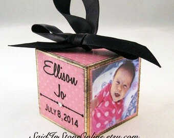 Baby's First Christmas Personalized Photo Block in Pink Dots, Custom Baby Ornament