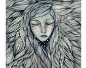 Goddess illustration. Art print. Illustration