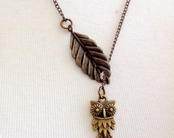 Owl Necklace, Leaf Necklace, Lariat Necklace SALE