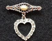 Marcasite Heart drop Brooch Pin Vintage Silvertone Glitz