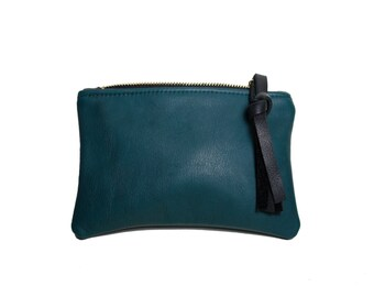 Leather pouch evergreen