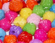 100 Rose Roses Pony Beads for Bubblegum Necklaces Kandi Spacer Kids Crafts Deco Rainbow colors mixed sizes