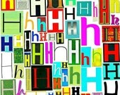 MultiColor Single Letter h-H, Printable Digital Single Letter Series, Letter h-H, Magazine Letters, Upcycled, Collage Letters, Ransom Note