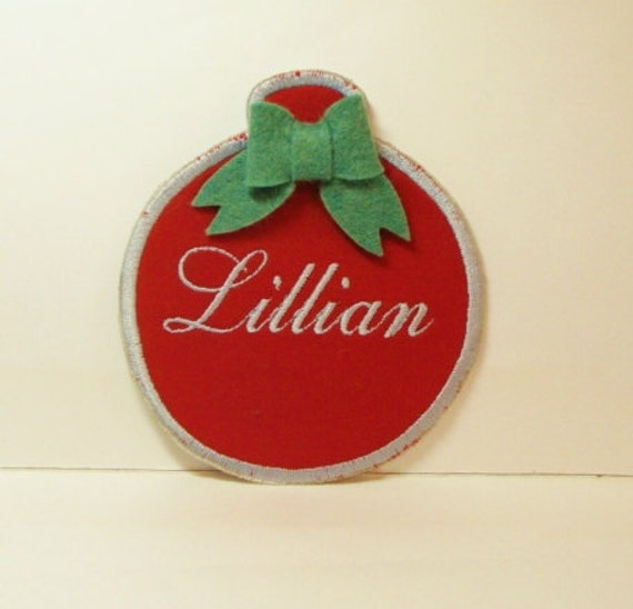 Christmas Ornament Embroidered Applique with Name-100127