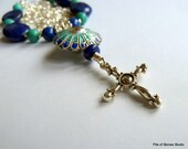 Necklace, Pilgrim's Path, Natural Gemstones, Lapis Lazuli, Turquoise, Organic Vintage Focal, Sterling & Bali Silver, Soulful Cross