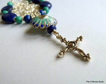 Pilgrim's Path - Lapis & Turquoise Gemstone Necklace Sterling Silver Chain Organic Vintage Focal Jewelry Soulful Faith Inspired Necklace