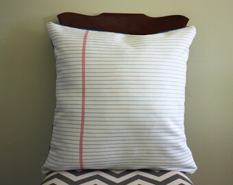 White Lined Paper Pillow