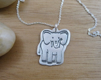 Silver Elephant Necklace Recycled Silver Eco Friendly Jewelry Animal Necklace Silver Necklace Elephant Necklace Pachyderm - Elephant