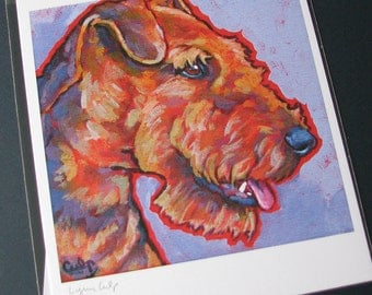 Airedale Terrier Dog 8x10 Signed Art Print from Painting by Lynn Culp