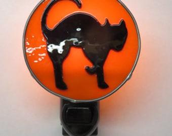 Halloween Night Light - Silhouette Black Cat Halloween Nightlight - Fused Glass Halloween Nightlight