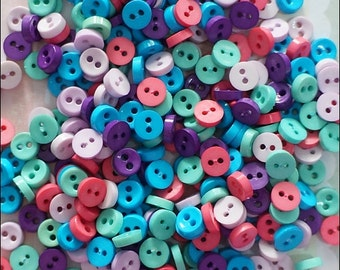 50 pcs Tiny Round Buttons Mixed Color Supply Scrapbook Doll Dress