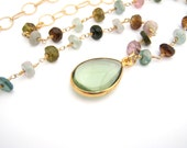 36 Inch Rainbow Tourmaline Necklace, Teardrop Pendant, Layering Necklace, Chain, Green, Gold, Pink, Teal
