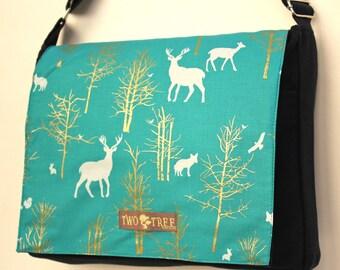 Black Teal GOLDEN FOREST Print MESSENGER Book Laptop Diaper Bag