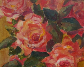 Signed, Vintage Original beautiful painting of Roses