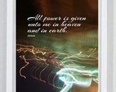 Bible Verse Print, ALL POWER, Scripture, Power, Holy Spirit, Jesus, God, The Lord's Prayer, Scriptures, Religious Gift, Christian Art, Holy