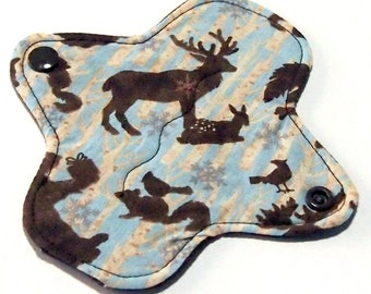 """Reusable Cloth ULTRATHIN Pantyliner 6 Inch Mini Pad with wings- """"Northern Forest"""" - Quilter's Cotton top"""
