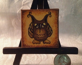 """Hand Painted Mini 2"""" x 2"""" Painting with Easel - Prim Owl"""
