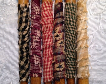"""Set of 6 each 7"""" Vintage Wooden Spindles with Homespun"""
