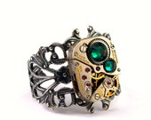 Emerald Green Steampunk Ring Steampunk Jewelry May Birthstone Swarovski Crystal  Steam Punk Ring designed by London Particulars