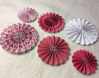 Paper Rosettes...6 Piece Set of Very Sweet Valentine Themed Scrapbooking Paper Flower Rosettes