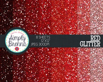 Red Glitter Paper Pack Colorful Glitter Digital Paper Personal & Commercial Use INSTANT DOWNLOAD