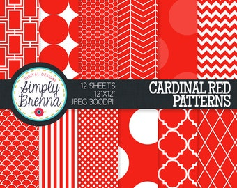 Cardinal Red Digital Paper - Colorful Digital Paper Pack Colorful Patterned Paper Sheets - Personal & Commercial Use INSTANT DOWNLOAD