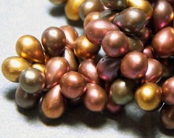 Czech Metallic Mix Glass Teardrop Beads 5x7mm (50) 0139-P
