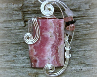 Rhodochrosite Wire Wrapped Pendant - Pink Necklace in Silver Wire